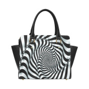 Artsadd Black and White Spiral Classic Women Handbag Shoulder Handbag Tote Bag