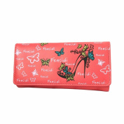 Egmy Women's Button Wallet Butterfly High Heels Pattern Coin Purse Handbag Long