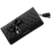 Nawoshow Women Lady Cat Bowknot Wallet Two Flod Long Purse with Tassel Zipper
