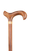Derby Handle with Gold Collar and Solid Wood Shaft
