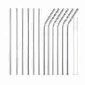 Biowow 18/8 Stainless Steel Drinking Straws For Yeti Reusable Metal 27cm Straws Set With 2 Cleaning Brushes