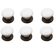 IdealDecor 6PCS White Porcelain Ceramic Drawer Knobs Door Knob Handle Pull For Cupboard/Cabinet/Wardrobe/Drawer/Bathroom