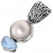 Opal White Mabe Cultured Pearl 925 Sterling Silver Pendant, 4.3cm