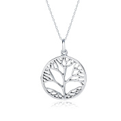 Sterling Silver Oval Open Cut celtic design Tree of Life Necklace Pendant, Choose Your Style