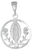 Guadalupe and Roses Sterling Silver Virgin Mary Pendant Medallion