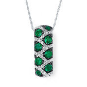 14K White Gold Emerald and Diamond Leopard Print Pendant Necklace, 46cm