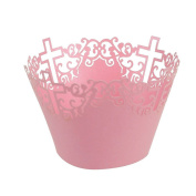 ROSENICE Cupcake Cases Cross Cupcake Wrappers Trays Wedding Party Decor in Pink 50 Pack