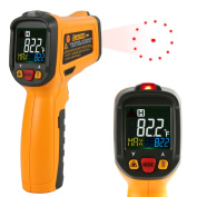 Infrared thermometer, Janisa PM6530B Non Contact Digital Laser Thermometer Infrared Thermometer Temperature Gun Circle Colour Display -50℃ to 550℃ With 12 Point Aperture Temperature Alarm Function