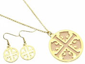 Cross Cut Out with Pink Inlay Pendant Necklace and Earring Set