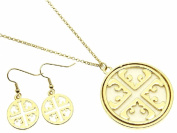 Cross Cut Out with Cream Inlay Pendant Necklace and Earring Set