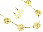 Cut Out Cross with Cream Inlay Necklace and Earring Set