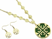 Cross Cut Out with Green Inlay Pendant Necklace and Earring Set