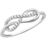 14kt White 1/10 CTW Diamond Infinity-Style Knot Ring