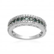 Jewelili 1 cttw Blue and White Diamond Eternity Ring in 10KT White Gold - Size 7