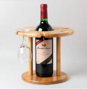 Bamboo Wine Rack for a bottle and glasses