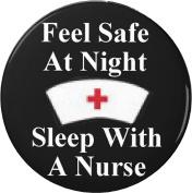 Feel Safe At Night Sleep With A Nurse 5.7cm Bottle Opener w/ Keyring Nursing Humour