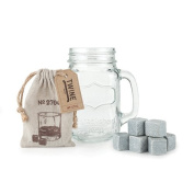 Country Home Mason Jar Stein and Glacier Rocks Set by Twine