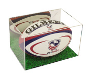 Deluxe Acrylic Collectible Full Size Rugby Ball Display Case with UV Protection