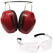 Ultimate Arms Gear Lightweight Low Profile Red Shooters Safety Ear Muff Hearing Protective Folding Padded Ear Cups & Adjustable Band For All Sizes + Shooting Clear Frame Lens Glasses Eye Protection