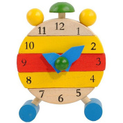 Baby Education Toy, FTXJ Hand Made Wooden Clock Toys Kids Time Learning Cognitive Toys