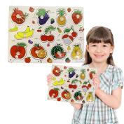 Toy Cubby Kids Toddler Wooden Pegged Jumbo Fruit Puzzle Board Set- 5.1cm - 7.6cm Jumbo Fruit puzzle piece