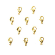10mm 22kt Gold plated Lobster Clasp Set of 10
