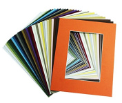 Golden State Art, Pack of 50 8x10 Mix Colour Picture Mats Mattes with White Core Bevel Cut for 5x7 Photo + Backing + Bags