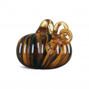 Glitzhome 12cm Handblown Two Tone Stripe Glass Pumpkin Table Accent For Fall & Harvest, Thanksgiving Decorating, Amber & White