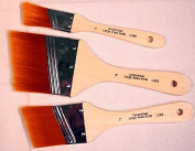 3 Large Area Gold Taklon Angular Paint Brushes -Great for Acrylics, Stains & More
