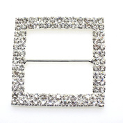 5pcs 47mm x 47mm Silver Square Shaped Rhinestone Buckle Slider for Wedding Invitation Letter