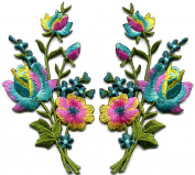 Rainbow roses pair flowers floral bouquet boho embroidered appliques iron-ons patches new