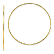 Large 14k Yellow Gold Continuous Endless Hoop Earrings, 1.2mm Tube