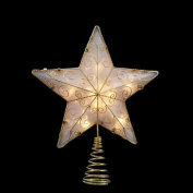 30cm Lighted Gold Reflector Star Christmas Tree Topper - Clear Lights
