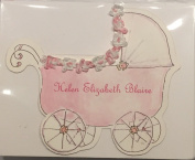 Baby Carriage Girls Birth Announcement