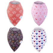 Baby Girl Bandana Bib by Bambinio - Set of 4 High Absorption Bandana Drool Bibs for Girls - Adjustable Size Baby Dribble Bibs - Nickel-Free Snap Closure - Best Newborn Baby Girl Gift
