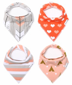 "Baby Bandana Drool Bibs for Girls 100% Organic Cotton With Snaps for Drooling and Teething Babies and Toddlers 4-Pack Bibs Gift Set For Girls ""Sweetheart Set"" with A Back Pocket by American Kiddo"