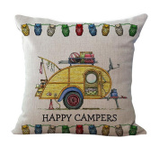 Usstore Pillow Case Pillowslip Home Decor Letter Happy Campers Cover Gift