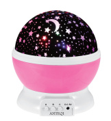 Sun And Star Lighting Lamp 4 LED Bead 360 Degree Romantic Room Rotating Cosmos Star Projector With 1.5m USB Cable, Light Lamp Starry Moon Sky Night Projector Kid Bedroom Lamp(Pink)­