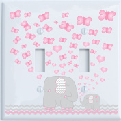 Pink Elephant Double Toggle Light Switch Plate Covers / Elephant Nursery Decor with Grey and Pink Chevron Switch Plates with Pink Hearts and Butterflies