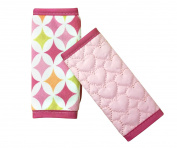 Nuby Quilted Strap Covers, Pink, Reversible, Infant Car Seat Strap Covers, Baby Seat Belt Covers, Stroller Accessories, Head Support, Shoulder Pads