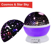 Night Light Kids Lamp, Romantic Rotating Sky Moon & Cosmos Cover Projector Night Lighting for Children Adults Bedroom, Mood/Decorative Light, Baby Nursery Light, Living Room Gift
