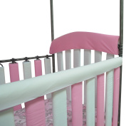 Go Mama Go Organic Teething Guard Protects Baby and Crib, Pink/White, 130cm x 15cm