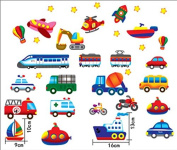 Baby Nursery Traffic Wall Decals for Kids Rooms, Nursery, Baby, Boys & Girls Bedroom - Peel & Stick,Removable Vinyl Wall Stickers - Lovely Bus Rocket Boat Train Truck Balloon Bike