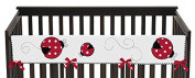 Red and White Little Ladybug Long Front Rail Guard Baby Girl Teething Cover Protector Crib Wrap