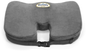 Dr. Tushy Coccyx Memory Foam Seat Cushion - Adjustable Straps to Secure to Wheelchairs,Office Chairs,Car Seats for Relief from Sciatica, Lower Back & Tailbone Pain (Grey)