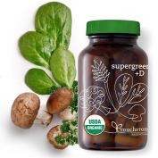 Organic Greens Cold Processed + Vitamin D 1000 IUs + Probiotics + Prebiotic + Digestive Enzymes - Gut Flora - Microbiome - Immune Support - Supergreens +D - Vegan - Vegetarian -
