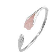 Jade Angel Handcraft Sterling Silver Cuff Bracelet with Sculpted Pink Cubic Zirconia Gardenias