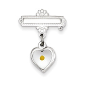 Sterling Silver Polished Heart with Epoxy Mustard Seed Pin