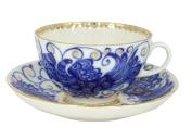 Lomonosov Porcelain Tea Set Cup and Saucer Tulip Magic Fire Bird 2 pc