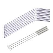 8 Pcs Stainless Steel Metal Drinking Straw Reusable Straws + 3 Cleaner Brush Kit